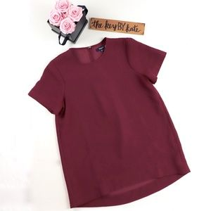 Madewell Flowy Blouse Top Maroon Rasberry Red